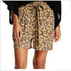 NWT Free people floral print tie shorts high rise